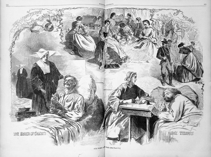 "Our Women and the War"" Civil War nurses. Winslow Homer. From Harper's Weekly, September 6, 1862."